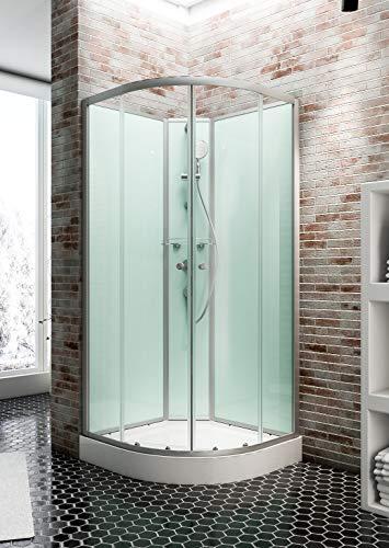 Cabine de douche complète Corsica 90 x 90 cm, cabine de douche intégrale avec portes coulissantes, parois fixes, arrondi, receveur, panneaux muraux et robinetterie