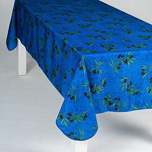 Villages de Provence - Nappe Antitache Rectangulaire - Infroissable et 100% Polyester - Bleu - 300x150 cm - Olive - 8/10 couverts - Intérieur ou Extérieur - Table à Manger, Cuisine ou Jardin