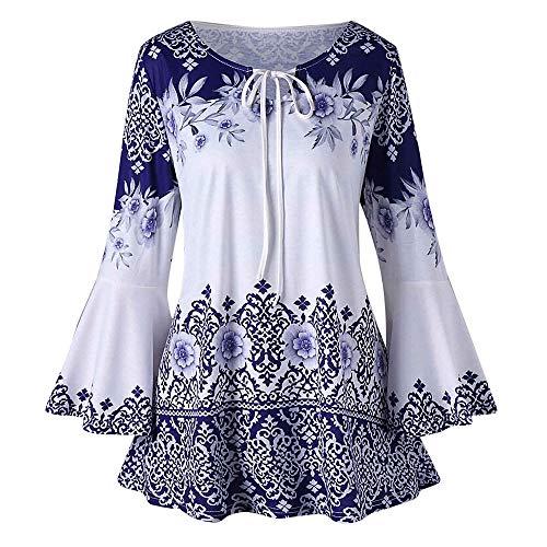 Vimoli Blouses Femme Élégant Vintage Imprimé Fleurs Tunique à Manches Longues Grande Taille Chic T-Shirts Basique Lâché Casual Haut Shirt Pull Chemise