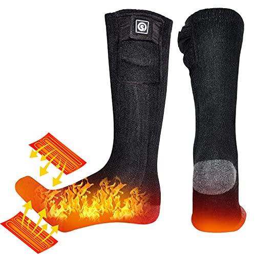 BARCHI HEAT 7.4V 2200MAH Chaussettes chauffées,Batterie Rechargeable Chaussettes chauffantes pour Faire du Ski de Neige Faire du Ski Chaussettes motorisées à Piles