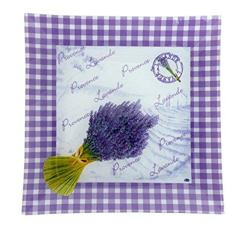 Générique Lot de 6 Assiettes en Verre Carrée Décor Provence, Lavande Taille 20 x 20 cm