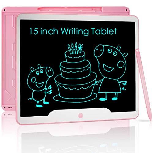 NOBES Ardoise Magique,Tablette d'écriture LCD 15 Pouces,Grande Tableau de Dessin Effaçable Enfants, Créatif Jouet Educatif pour 3-10 Ans Filles Garçon (Rose)