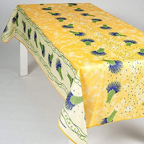 Nappe Antitache Rectangulaire - Infroissable et 100% Polyester - 240x150 cm - 6/8 couverts - Bouquet de Lavande - Jaune - Intérieur ou Extérieur