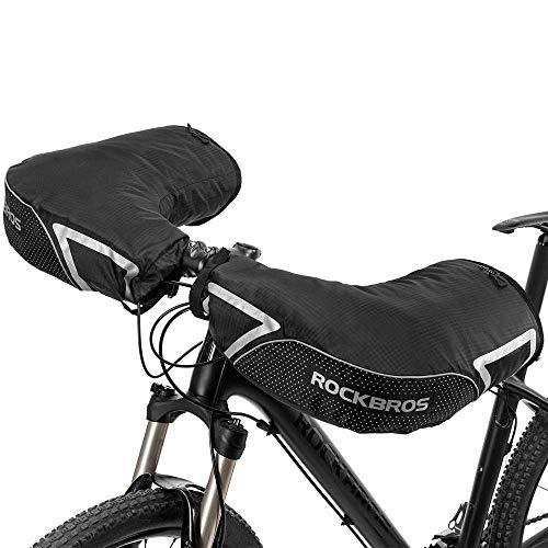 ROCKBROS Manchons de Guidon Vélo Thermique Gants d'hiver Impeméable Réfléchissant pour VTT Vélo Electrique Trottinette