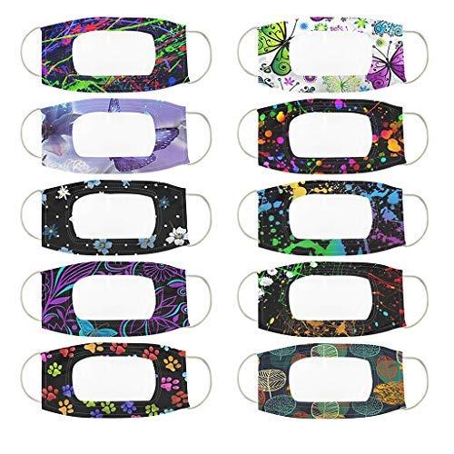 Maxpex 10 Pièces avec Protection d'Expression Visible De Fenêtre Claire pour Les Sourds Et Malentendants,Réutilisables,Unisexe,Multicolore