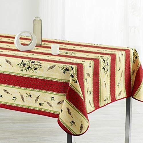 Nappe Antitache Rectangulaire - Infroissable et 100% Polyester - 200x150 cm - 4/6 couverts - Olivier - Bordeaux - Intérieur ou Extérieur