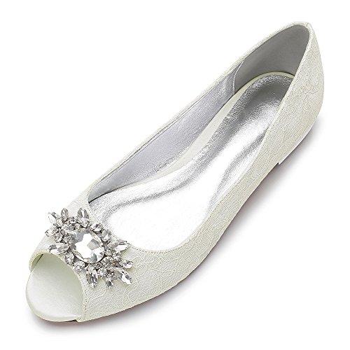 MarHermoso Chaussures de mariée plates en dentelle et satin pour femme