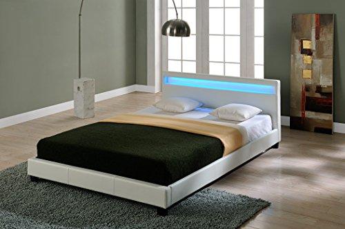 Corium Lit capitonné à LED de (Paris) (XXL)(Blanc)(200x200cm) lit Moderne/Cuir synthétique/avec Lattes/lit Double/sans matela