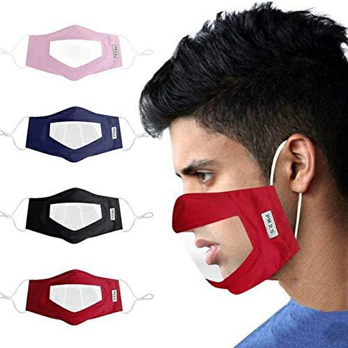 AIEOE - 4 pcs Bouche Protectrice Nez Transparent Lecture Visuelle Langage des lèvres Malentendants Coton neutre Lavable Réutilisable Longe d'oreille Réglable