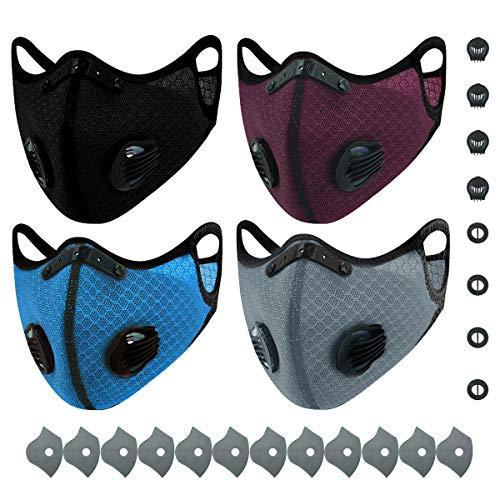AIEOE 4 Pièces Confortable Protection du Visage Anti-poussière Protège-dents pour Vélo 4 Couleurs B