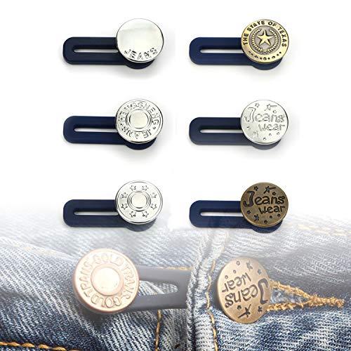 Extension de Bouton élastique en Caoutchouc pour Jeans, Pantalons, Jupes ou Poignets 6 pièces