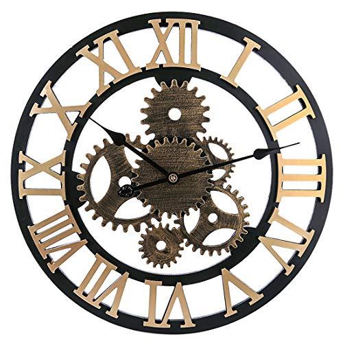 MRKE Horloge Murale Geante, 58CM 6 Gear Horloge Murale Silencieuse Bois Horloge Murale Vintage (Golden 6 Gear)