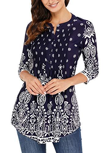 Dokotoo Femme T-shirt Manche 3 4 Imprime Fleur Tunique Lache Blouse Femme et Top Chic, Bleu Marrine, S(EU 36-38)