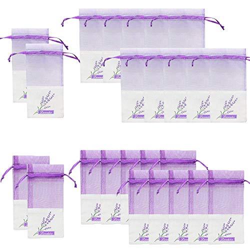 Geila 24pcs Sachet Sacs vides Sacs de Coton et de Ramie Violets en Cordon de Coton pour la Lavande, Les épices et Les Herbes