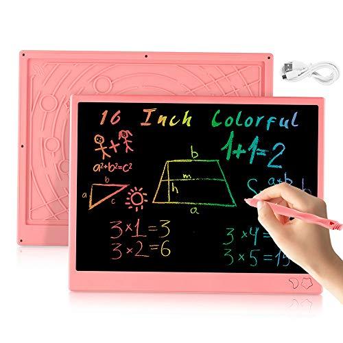 bhdlovely LCD Tablette D'écriture 16 Pouces Coloriage Ardoise Magique Chargable Tablette Dessin pour Enfants Adultes Jouet Fille Garçon Educatif (Rose)