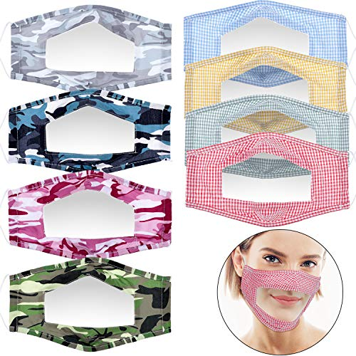 8 Pièces Couverture de Fenêtre Clair Bandanas de Cou Anti-Poussière Unisexe Réutilisables Couverture d'Expression Visible pour Les Malentendants