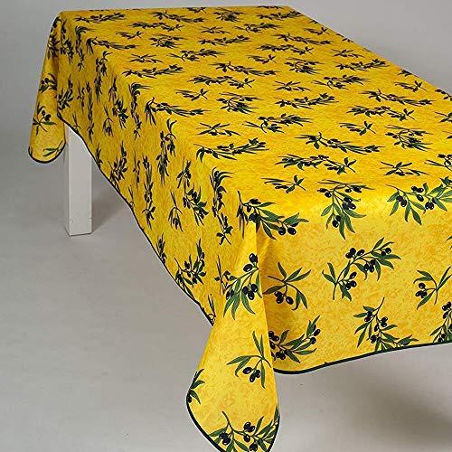 Nappe Antitache Rectangulaire - Infroissable et 100% Polyester - 240x150 cm - 6/8 couverts - Olive - Jaune - Intérieur ou Extérieur